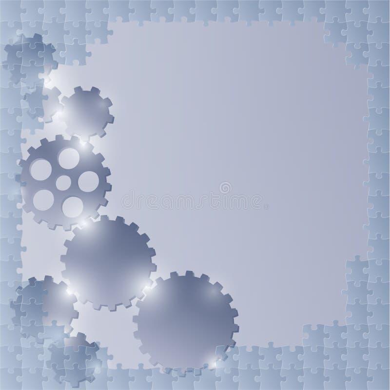 Fondo azul con rompecabezas y las ruedas del diente ilustración del vector