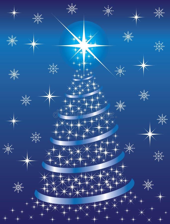 Fondo azul con un abeto de la Navidad ilustración del vector