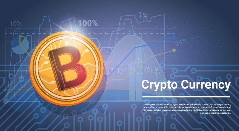 Fondo azul de Bitcoin Digital de la moneda del dinero moderno de oro del web con las cartas y gráficos y lugar para el texto ilustración del vector