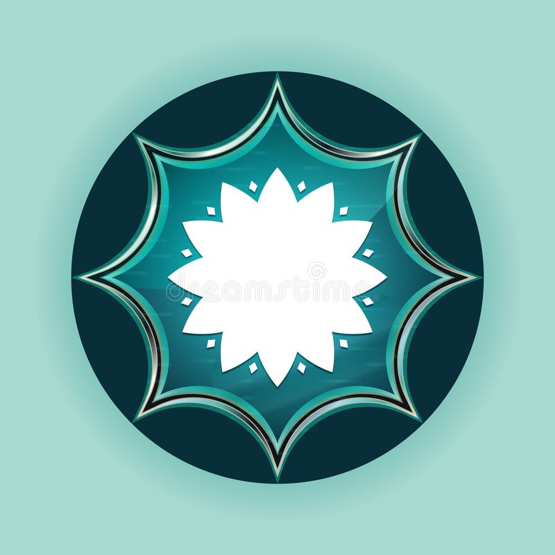 Fondo azul de azul de cielo del botón de la flor del resplandor solar vidrioso mágico frondoso del icono ilustración del vector