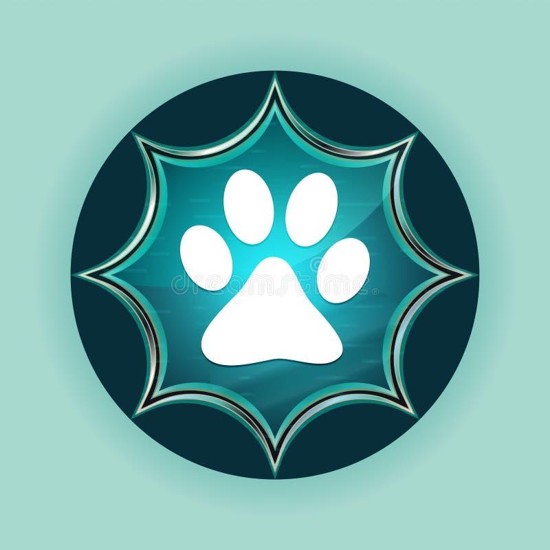 Fondo azul de azul de cielo del botón de la pata de la impresión del resplandor solar vidrioso mágico animal del icono libre illustration