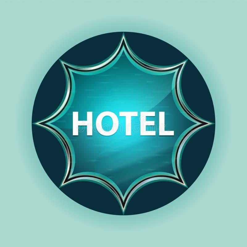 Fondo azul de azul de cielo del botón del resplandor solar vidrioso mágico del hotel stock de ilustración