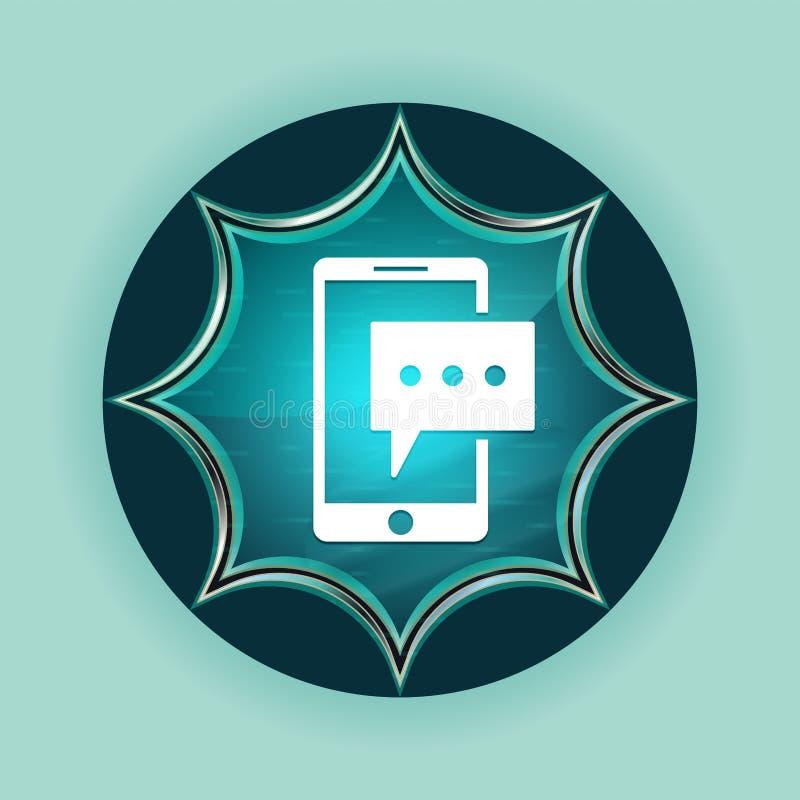 Fondo azul de azul de cielo del botón del resplandor solar vidrioso mágico del icono del teléfono del mensaje de texto ilustración del vector