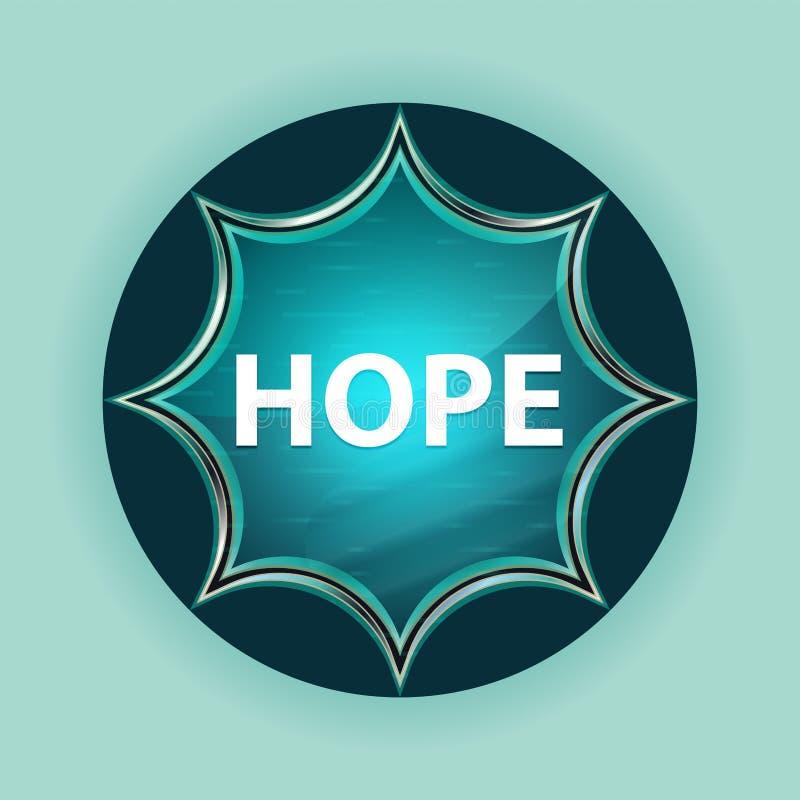 Fondo azul de azul de cielo del botón del resplandor solar vidrioso mágico de la esperanza libre illustration