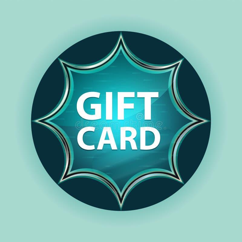 Fondo azul de azul de cielo del botón del resplandor solar vidrioso mágico de la tarjeta de regalo fotografía de archivo