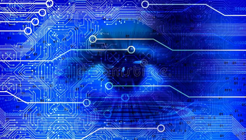 Fondo azul de la bandera del negocio de la tecnología de la visión del ojo Globo conectado Google del mundo de la tecnolog?a Ilus ilustración del vector