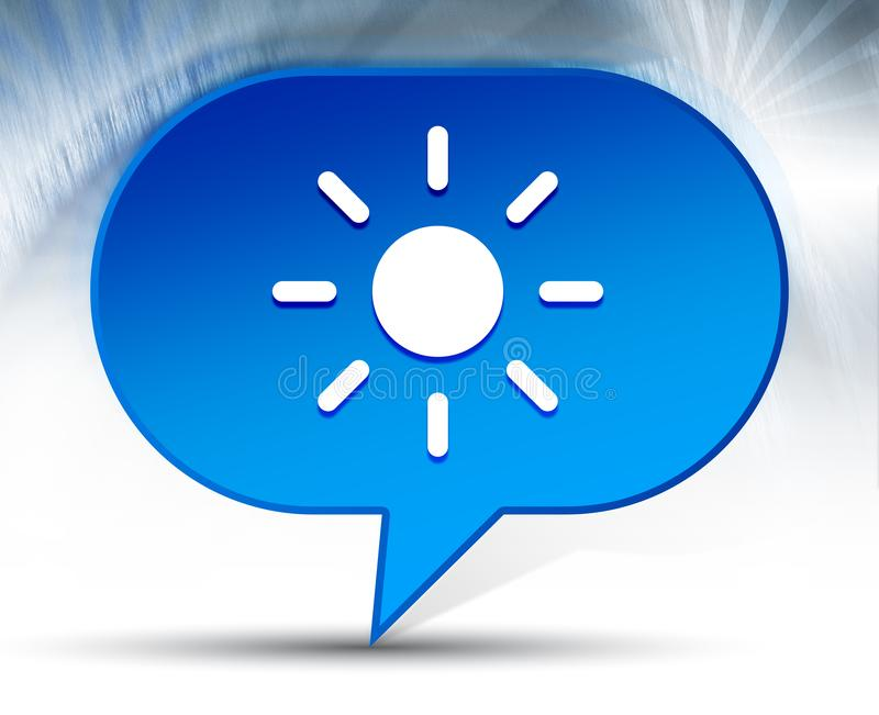 Fondo azul de la burbuja del icono del sol del brillo de la pantalla imagen de archivo