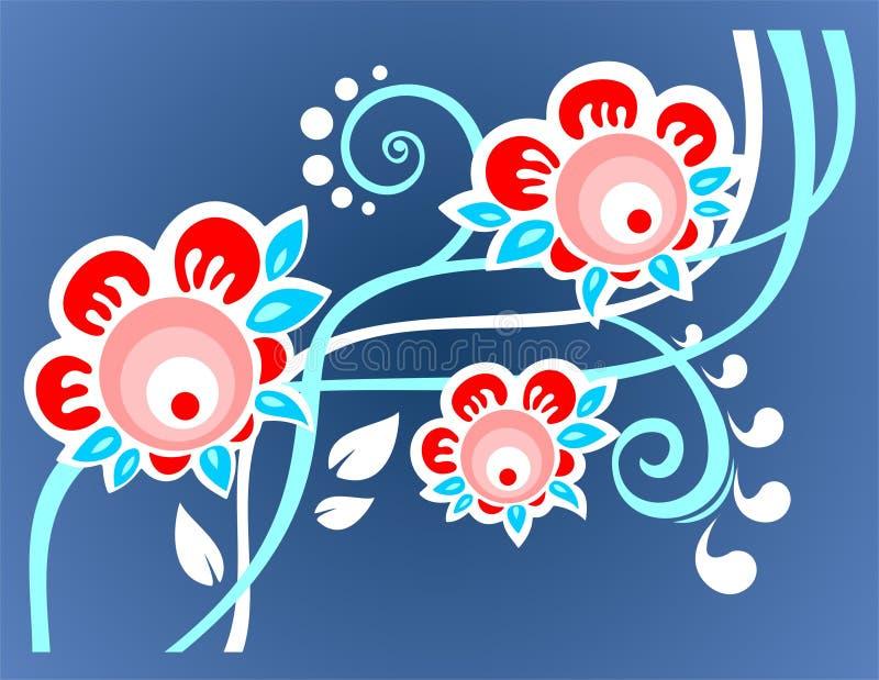 Fondo azul de la flor ilustración del vector