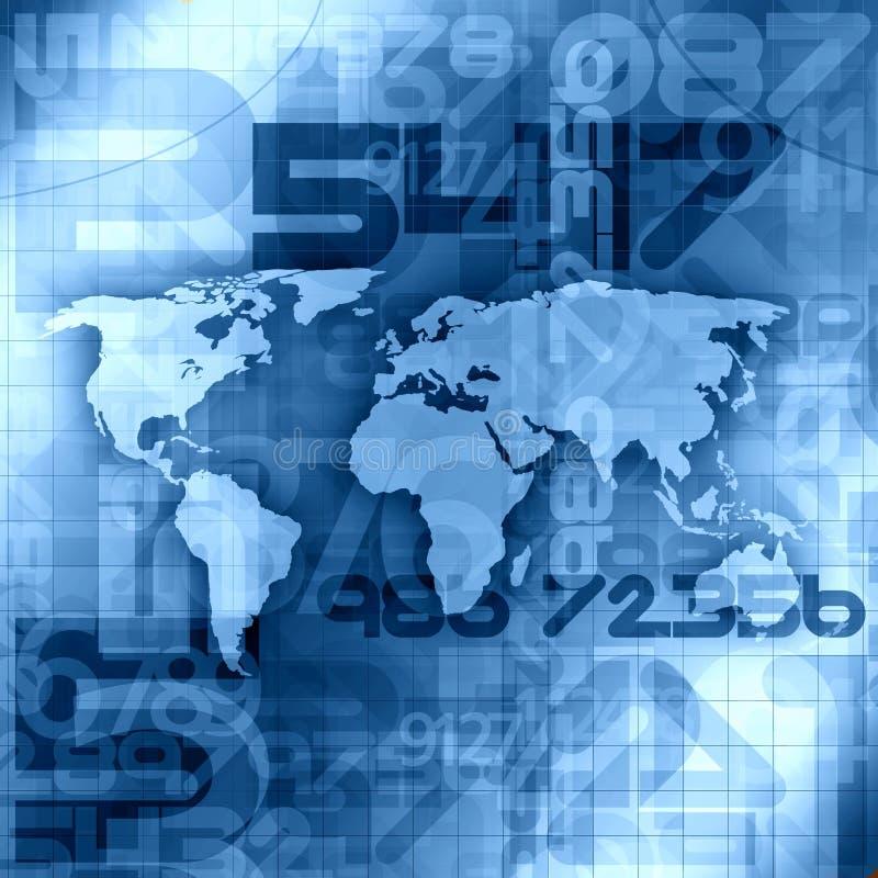 Fondo azul de la información del mundo stock de ilustración