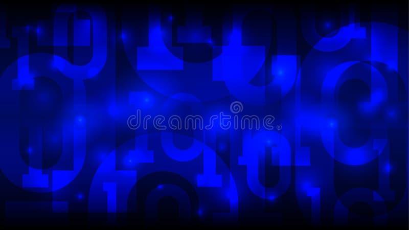 Fondo azul de la matriz con el código binario, código digital en ciberespacio futurista abstracto, inteligencia artificial, datos libre illustration