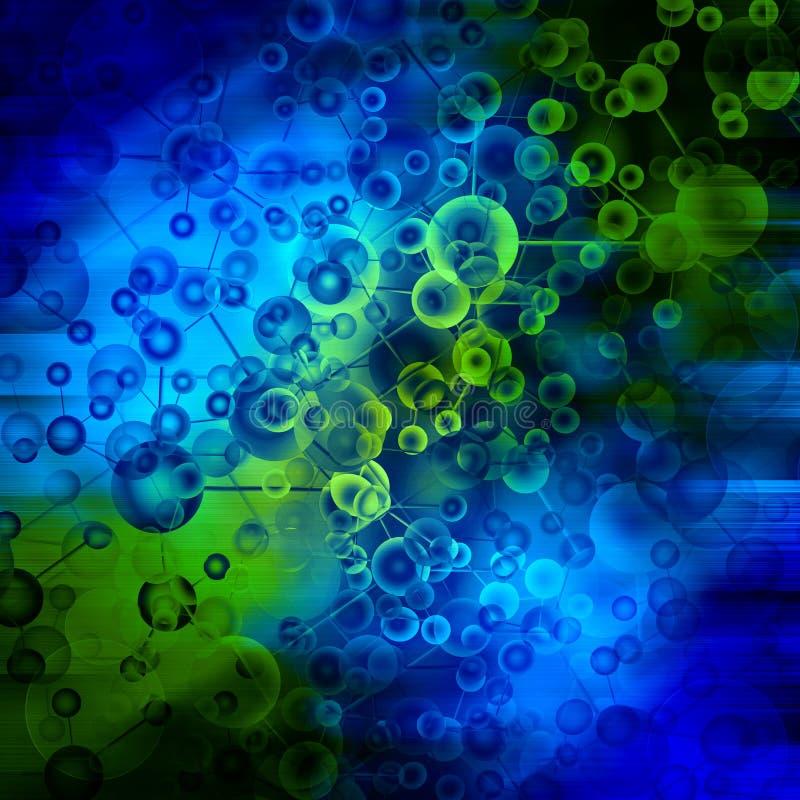 Fondo azul de la molécula stock de ilustración