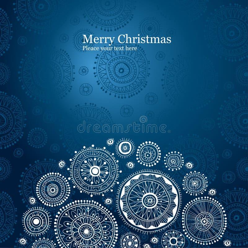 Fondo azul de la Navidad con el copo de nieve libre illustration