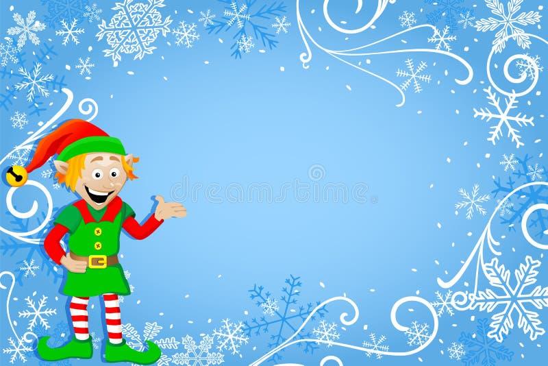 Fondo azul de la Navidad con el duende ilustración del vector