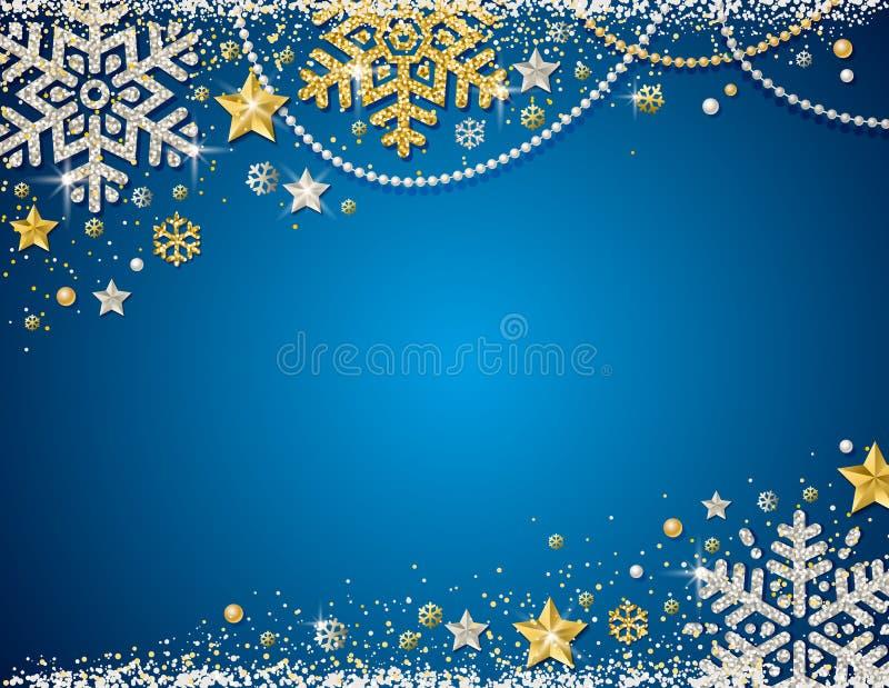 Fondo azul de la Navidad con el marco del glitte de oro y de plata libre illustration