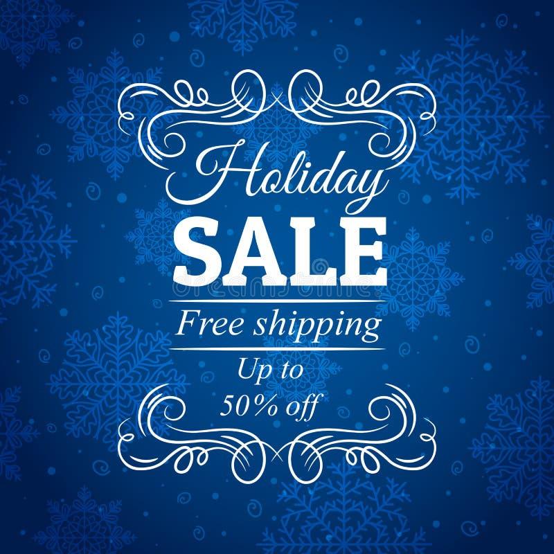 Fondo azul de la Navidad con la etiqueta para la venta, vec libre illustration
