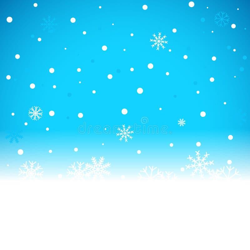 Fondo azul de la Navidad con las escamas de la nieve libre illustration
