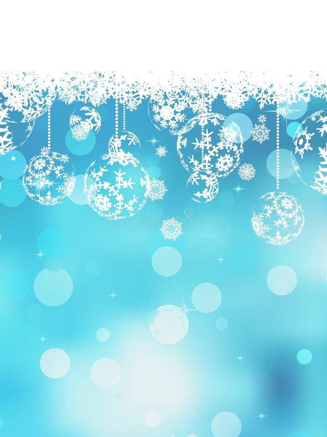 Fondo azul de la Navidad con las escamas de la nieve. EPS 10 ilustración del vector