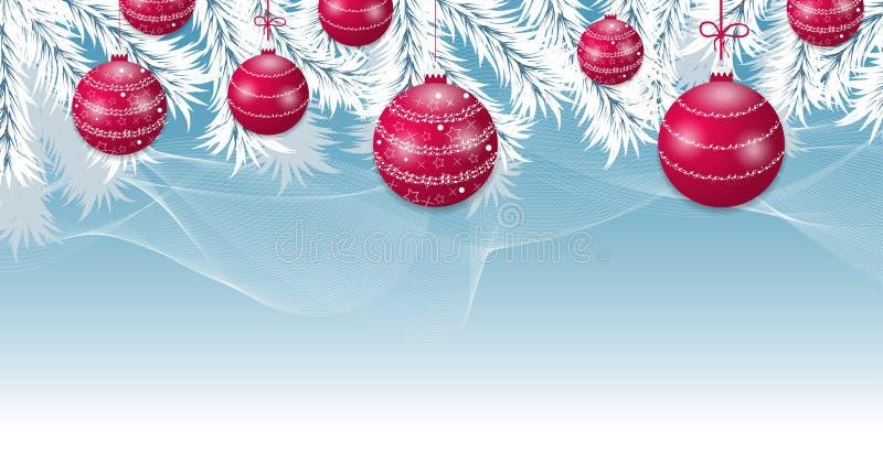 Fondo azul de la Navidad con las ramas blancas del árbol y las bolas rojas Bandera de la decoración de las chucherías de los días libre illustration