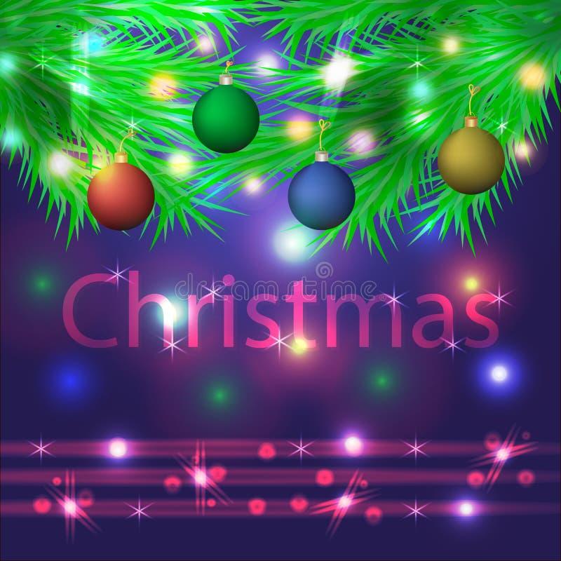 Fondo azul de la Navidad con las ramitas del abeto y las bolas coloridas Ilustración del vector libre illustration
