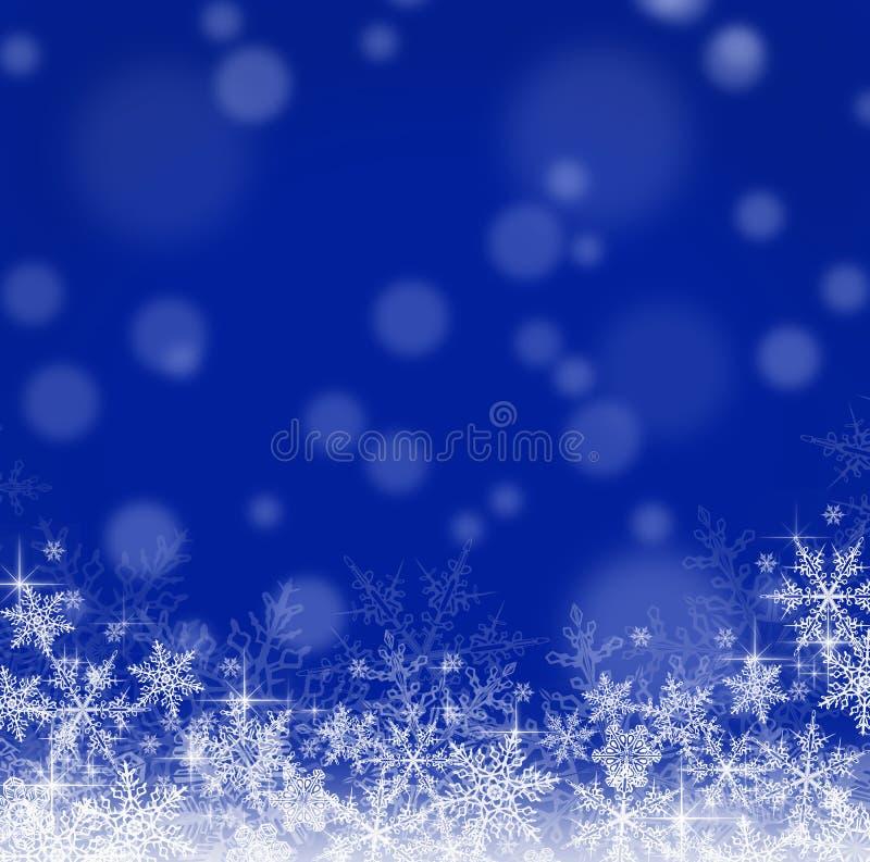 Fondo azul de la Navidad con los copos de nieve libre illustration