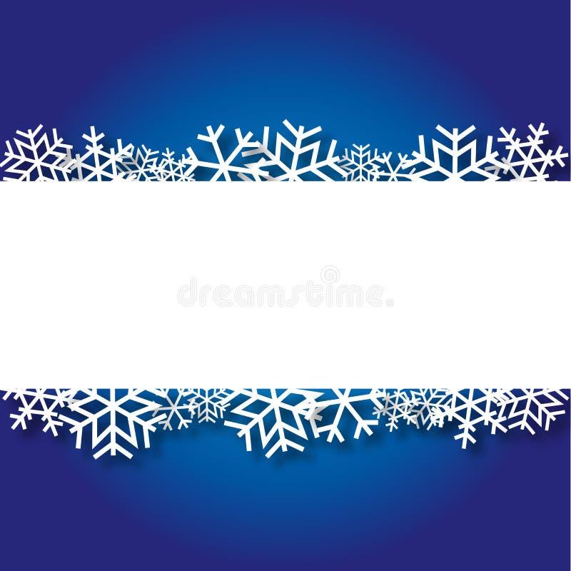 Fondo azul de la Navidad con los copos de nieve de papel stock de ilustración