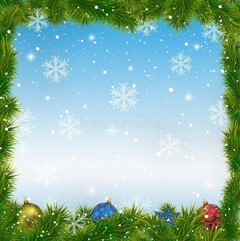 Fondo azul de la Navidad con los copos de nieve y los juguetes stock de ilustración