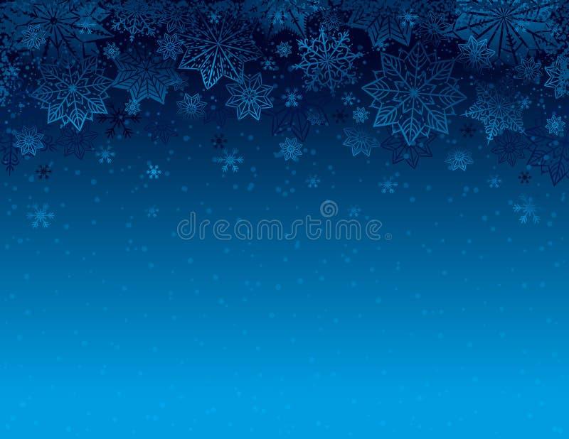 Fondo azul de la Navidad con los copos de nieve y las estrellas, vector ilustración del vector