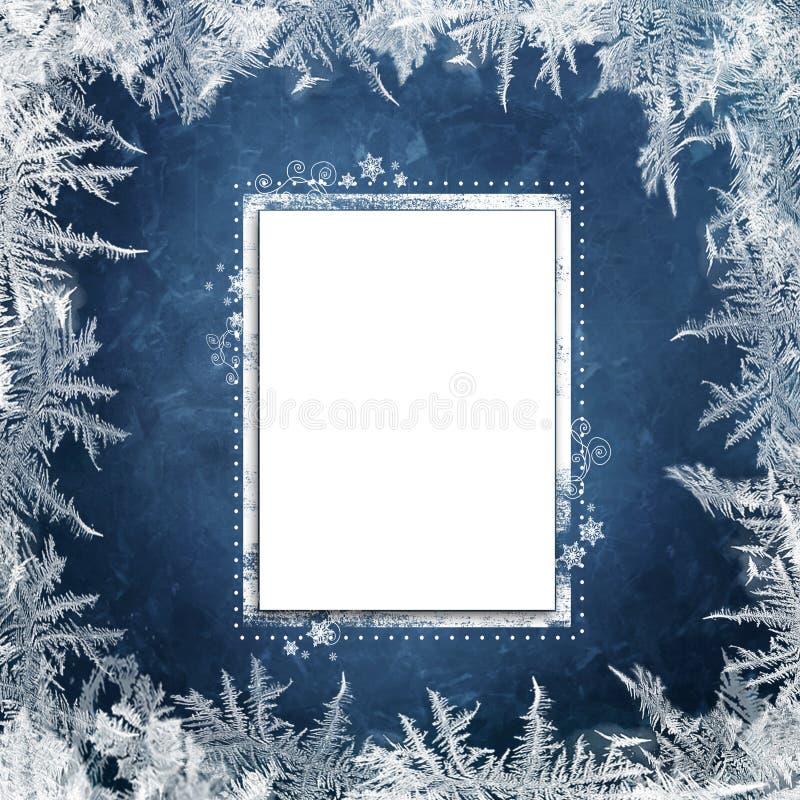 Fondo azul de la Navidad con los modelos escarchados y tarjeta para el texto o la foto ilustración del vector