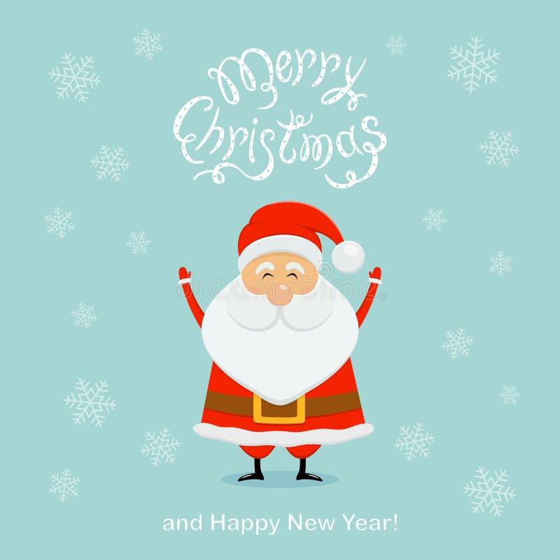Fondo azul de la Navidad con Papá Noel feliz y los copos de nieve libre illustration