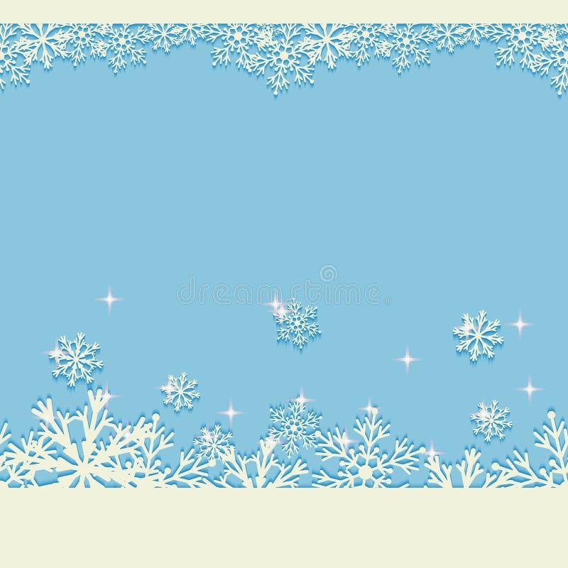 Fondo azul de la Navidad del invierno con los copos de nieve que brillan Modelo horizontal inconsútil del Año Nuevo stock de ilustración