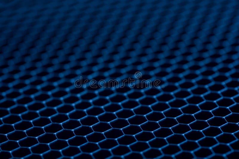 Fondo azul de la rejilla del metal abstraiga el fondo imagen de archivo