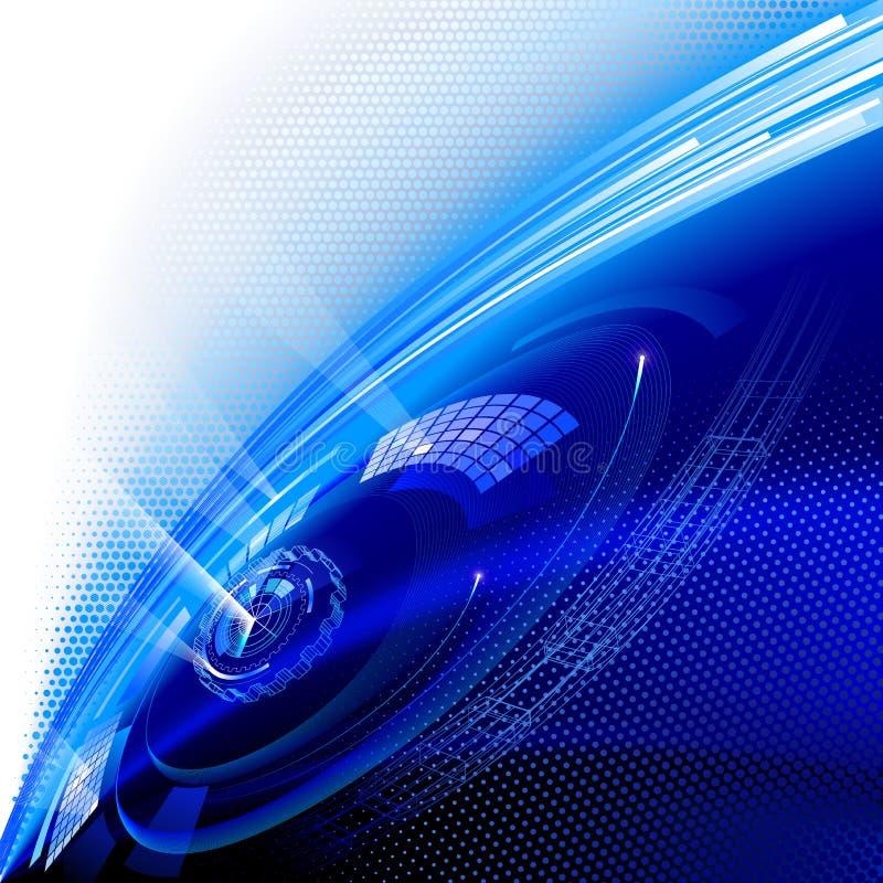 Fondo azul de la tecnología. ilustración del vector