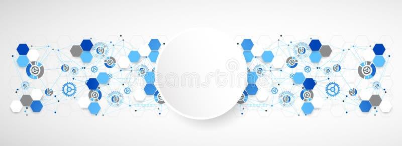 Fondo azul de la tecnología del color de la geometría abstracta stock de ilustración