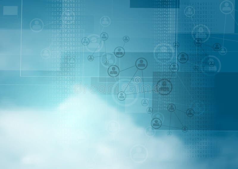 Fondo azul de la tecnología del vector del cielo nublado stock de ilustración