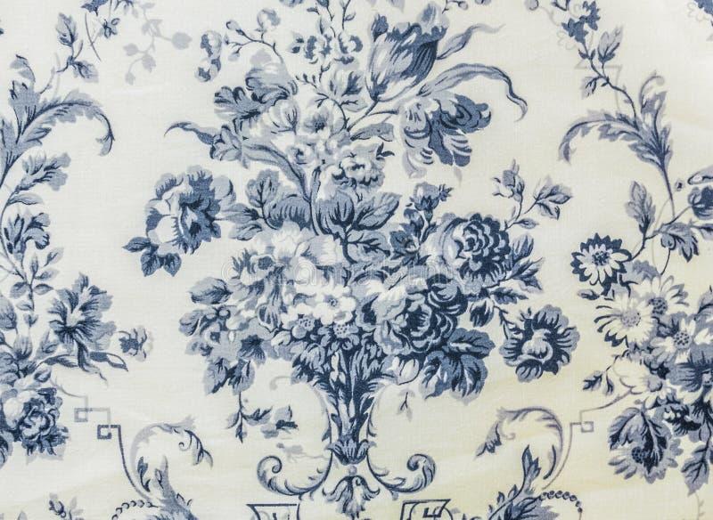 Fondo azul de la tela del modelo inconsútil floral retro del cordón foto de archivo