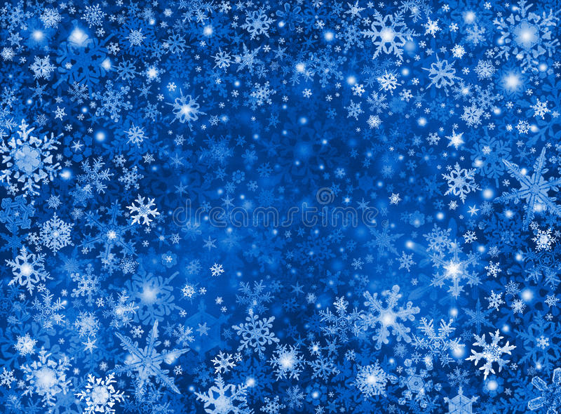 Fondo azul de la tormenta de la nieve ilustración del vector