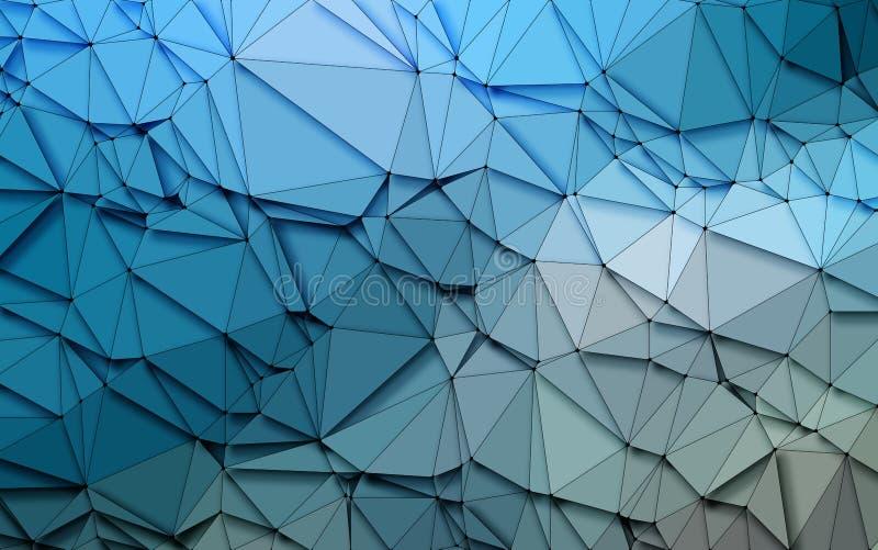Fondo azul de las lentejuelas de la naturaleza 3D de la papiroflexia geométrica simple abstracta del tono stock de ilustración