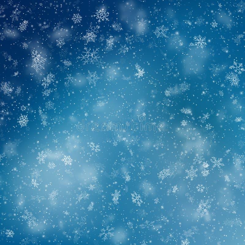 Fondo azul de los copos de nieve de la Navidad EPS 10 libre illustration