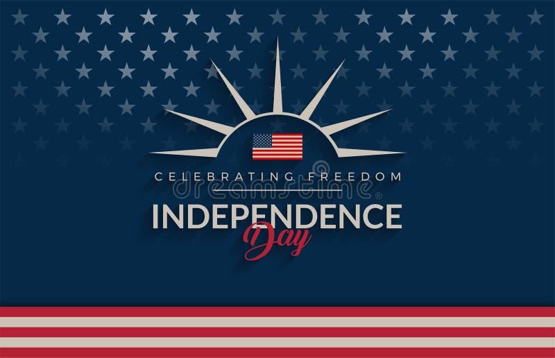 Fondo azul de los E.E.U.U. del Día de la Independencia, vintage/sensación retra E stock de ilustración