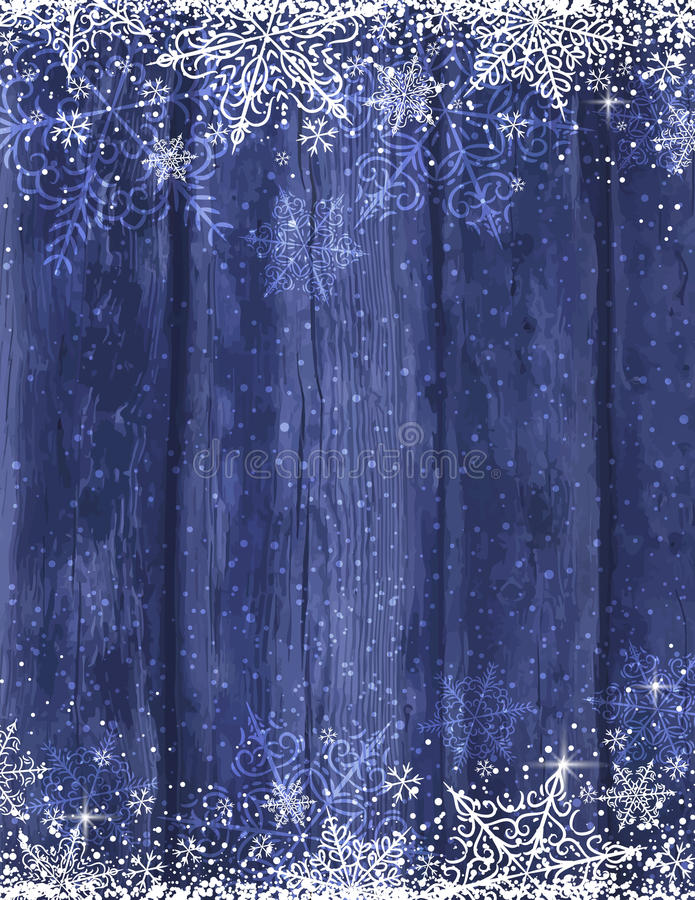 Fondo azul de madera con los copos de nieve, vector de la Navidad ilustración del vector
