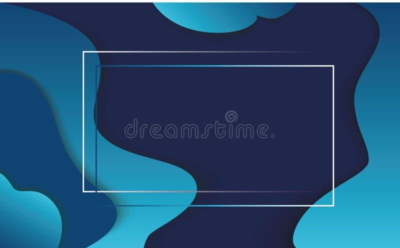 Fondo azul de papel abstracto Fondo acodado de la onda del túnel para la tarjeta, las banderas y los carteles Ilustración del vec stock de ilustración