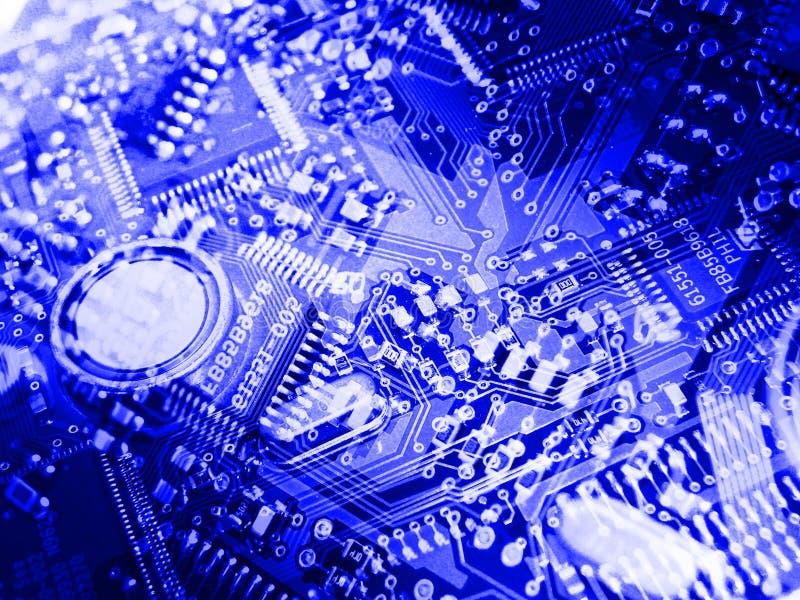 Fondo azul de tarjeta de circuitos ilustración del vector