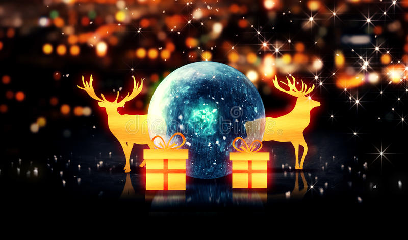 Fondo azul del bokeh del regalo 3D de Crystal Bauble Gold Christmas Deer stock de ilustración