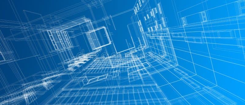 Fondo azul del color del alambre de la perspectiva del concepto de diseño de espacio del edificio de la arquitectura 3d del marco stock de ilustración