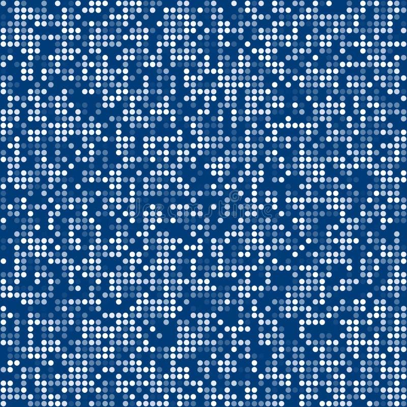 Fondo azul del concepto del mosaico del pixel del círculo stock de ilustración