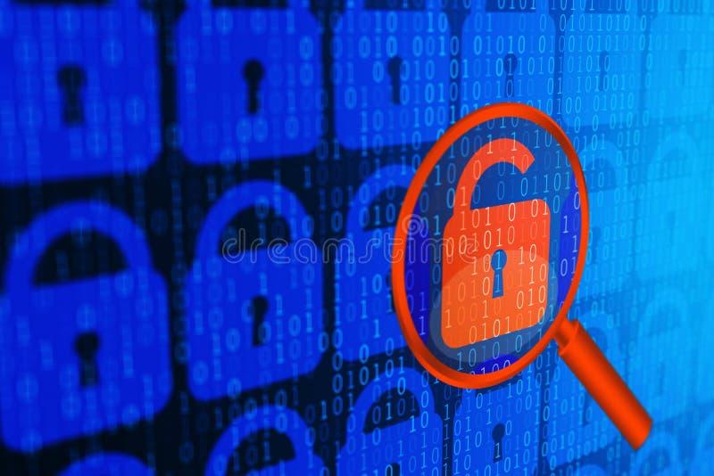 Fondo azul del concepto personal de la seguridad de los datos de Internet de Digitaces Ciberespacio serfing seguro de WWW libre illustration