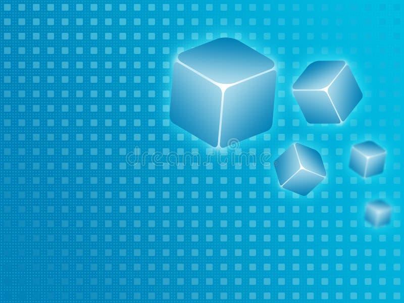 Fondo azul del cubo stock de ilustración
