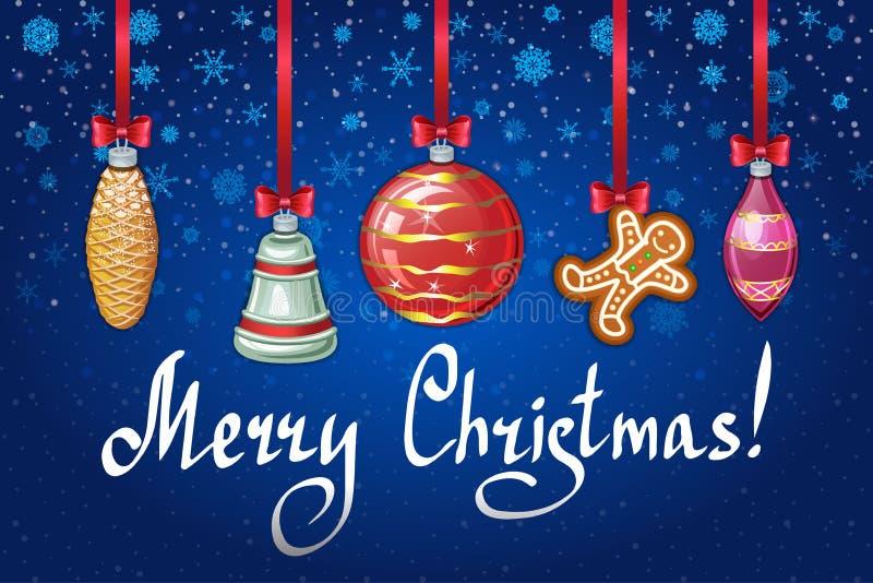 Fondo azul del día de fiesta con los juguetes y los hombres de pan de jengibre de la Navidad libre illustration