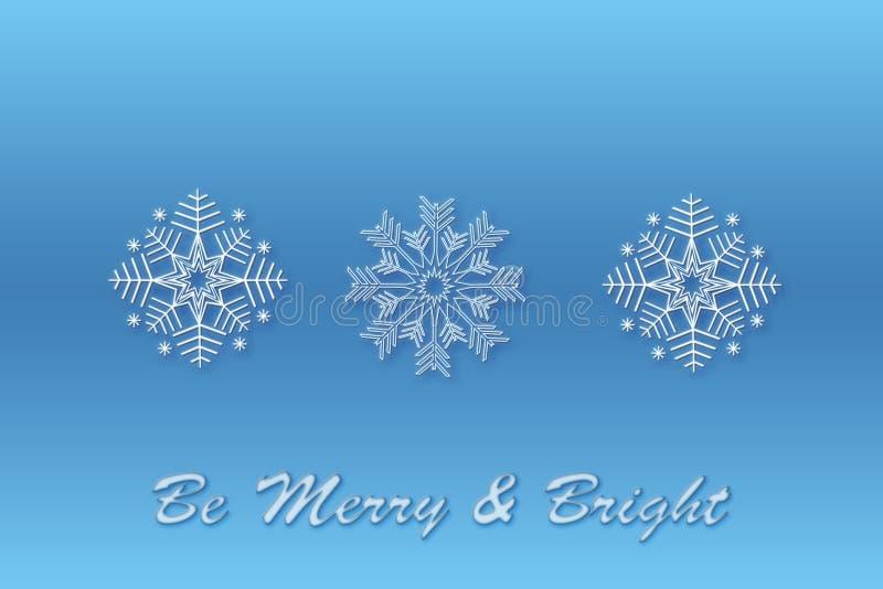 Fondo azul del diseño de la Navidad del copo de nieve Tres modelos del copo de nieve para crear cepillos Fondo de la nieve Feliz  libre illustration