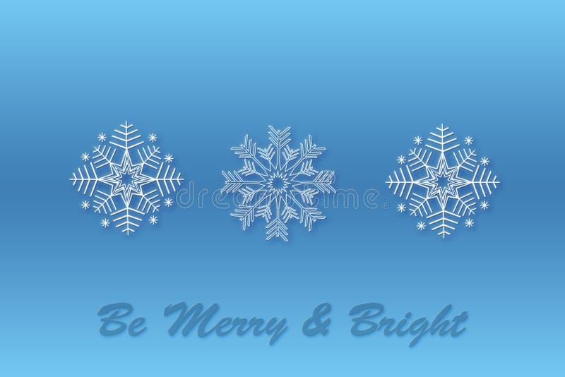 Fondo azul del diseño de la Navidad del copo de nieve Tres modelos del copo de nieve para crear cepillos Fondo de la nieve Feliz  stock de ilustración